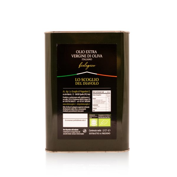 olio extra vergine di oliva lo scoglio biologico tanica 3 litri