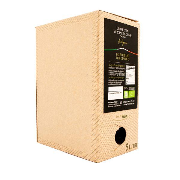 olio extravergine di oliva lo scoglio biologico box da 5 L